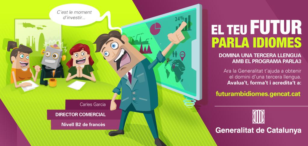 """Flyer """"El teu futur parla idiomes"""" del Programa PARLA3"""