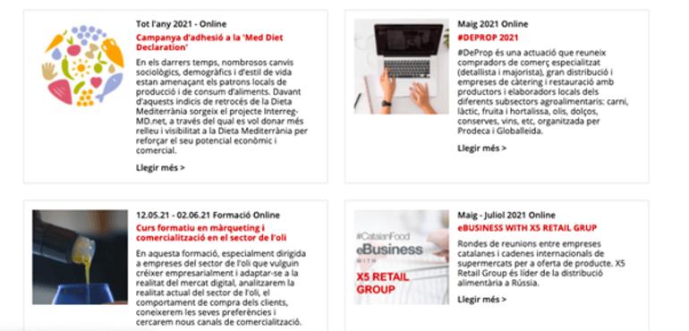 Pàgina web Prodeca
